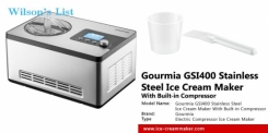Gourmia GSI400 Automatic Ice Cream Maker Stainless Steel 2.2 Qt Sleek Serve - Gelato, Sorbet and Fro